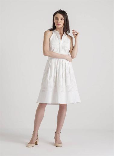 Fracomina Omuzları Açık Midi Elbise Beyaz